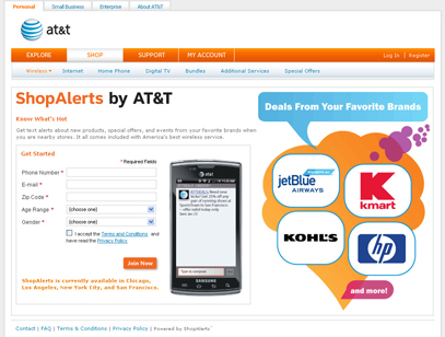 ShopAlerts by AT&T Registration Page